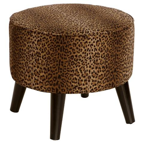 Marvelous Skyline Furniture Brown Cheetah Round Ottoman With Splayed Legs Cjindustries Chair Design For Home Cjindustriesco