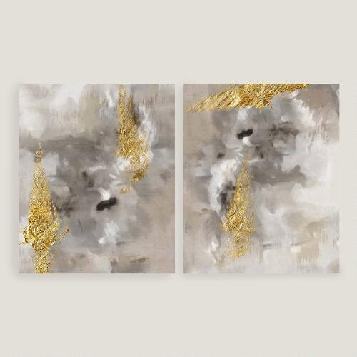 Pink And Gold Abstract Diptych Art