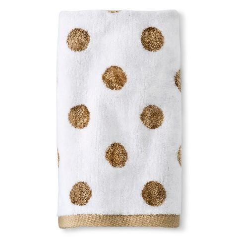 Gold Dotted White Hand Towel