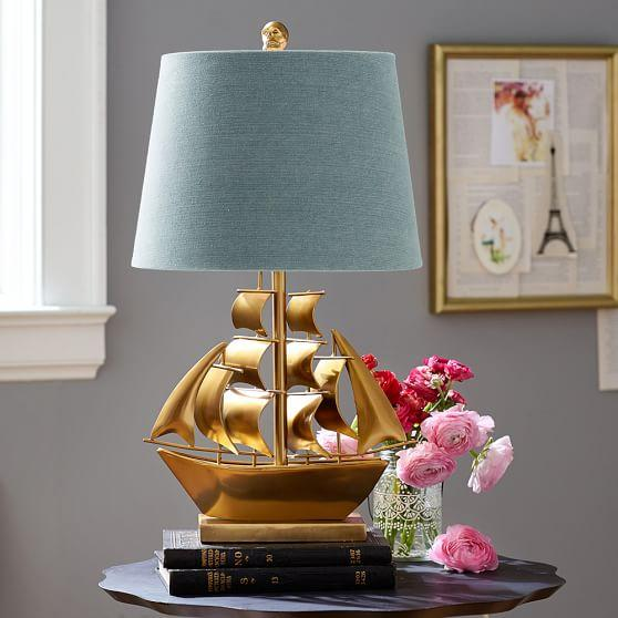 Awe Inspiring The Emily And Meritt Gold And Teal Pirate Ship Table Lamp Interior Design Ideas Clesiryabchikinfo