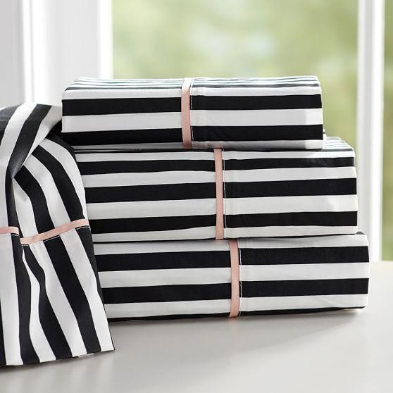 The Emily And Meritt Pirate Black And White Stripe Sheet Set