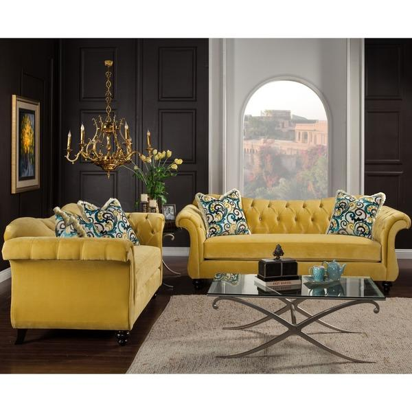 Of america agatha two piece yellow tufted sofa and loveseat set