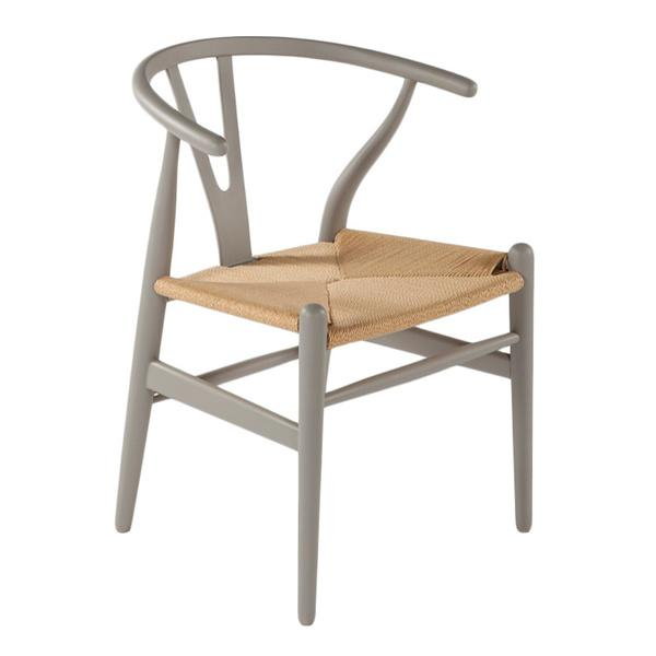 hans andersen home wishbone grey base and natural seat chair