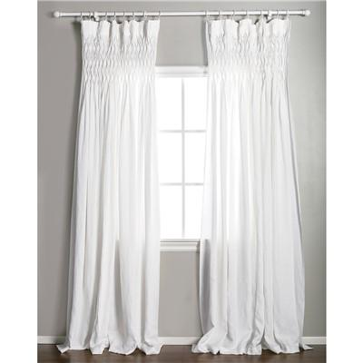 Pom Pom At Home Smocked White Curtain Panel
