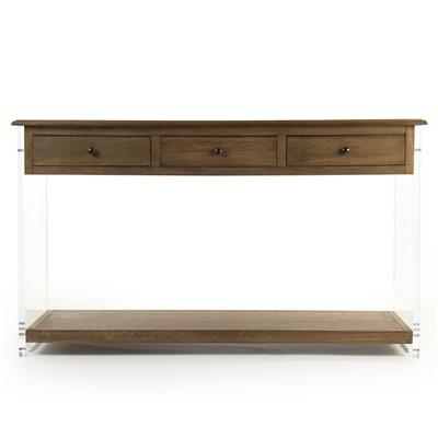 talon brown and acrylic console table