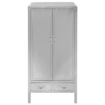 M Stainless Steel Silver Armoire