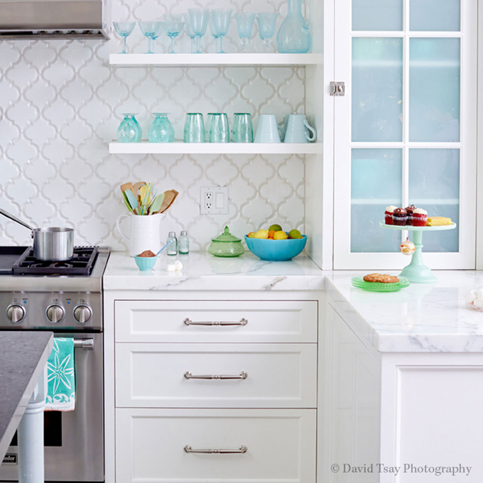 Turquoise Kitchen Wall Tiles: Recycled Glass Kitchen Countertops