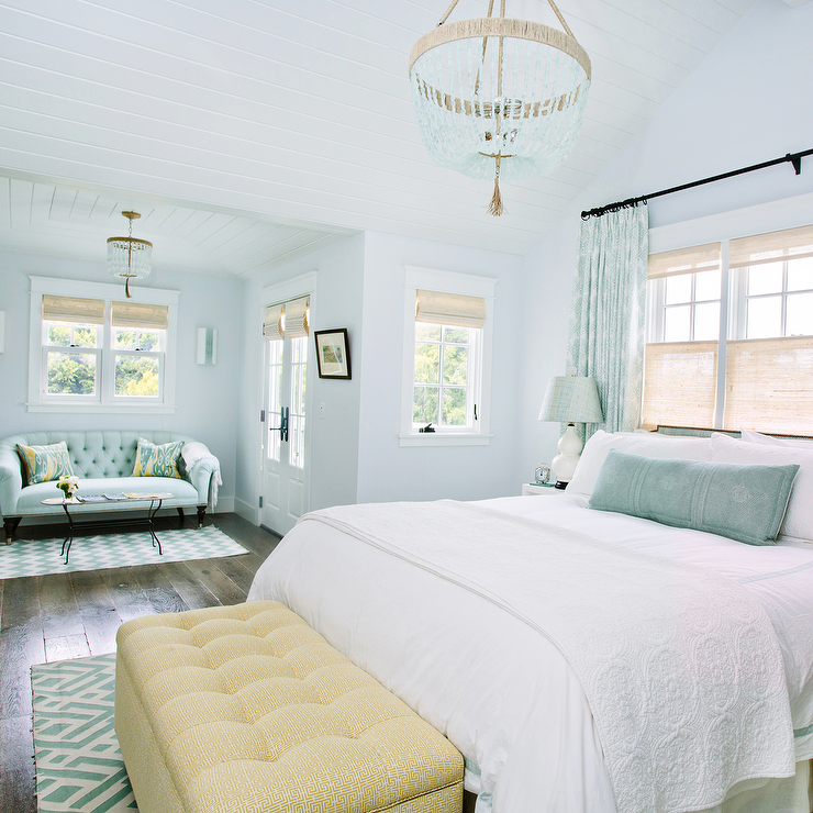and blue bedroom with turquoise beaded chandelier cottage bedroom