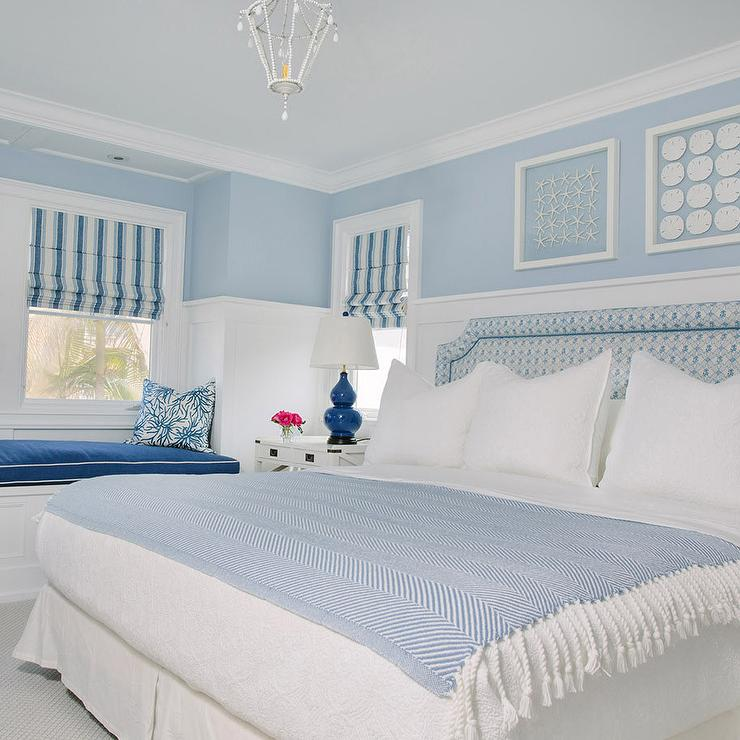Blue cottage bedroom with shadowbox art over bed cottage - Over the bed art ...