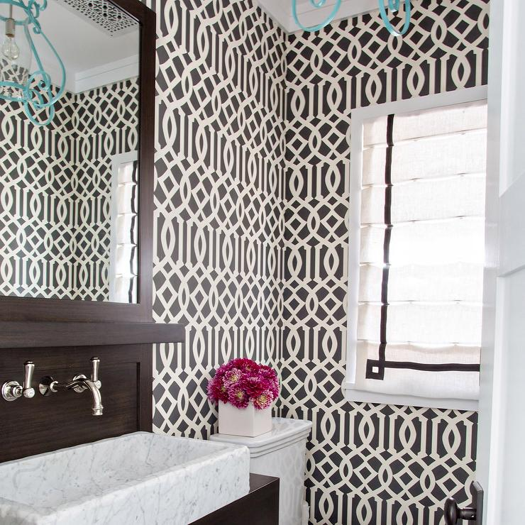 Brown Powder Room With Imperial Trellis Wallpaper