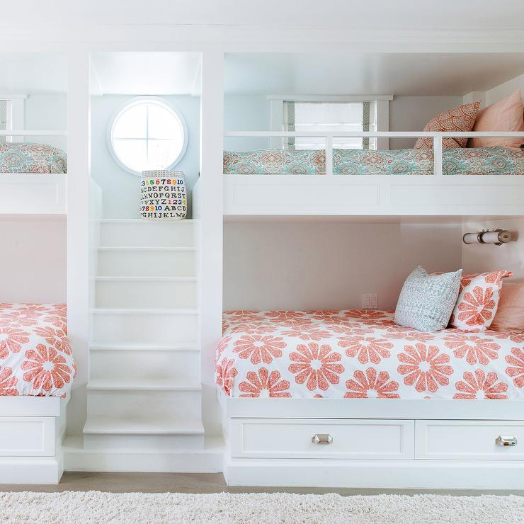 Girls Bunk Beds With Built In Staircase Transitional Girl S Room