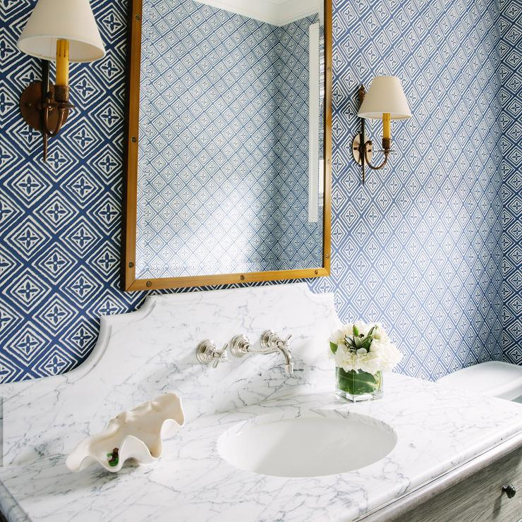 Blue and gold bathroom with marble top washstand for Blue and gold bathroom accessories