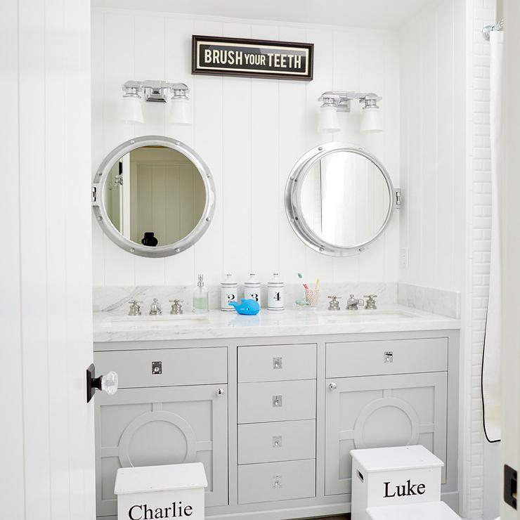 White And Gray Kids Bathroom With Personalized Step Stools