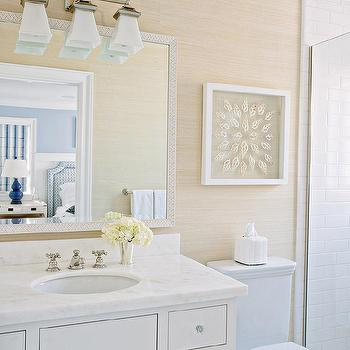Tan Bathroom With Tan Grasscloth Wallpaper