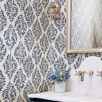 Black Powder Room With Silver Leaf Wallpaper Contemporary Bathroom