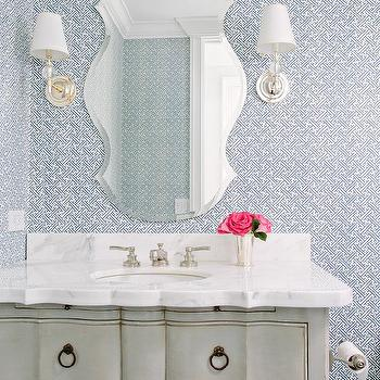 Gray powder room with silver beaded mirror french bathroom for Roberts designs bathroom accessories