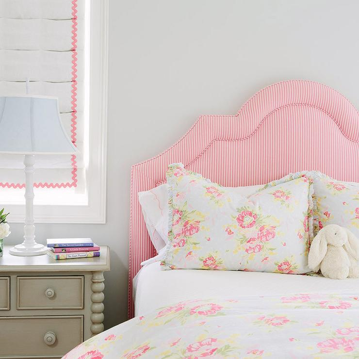 pink striped bedroom pink stripe headboard with gray nightstand 12883