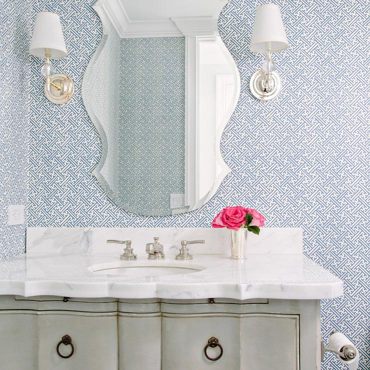 Gray french washstand with blue maze wallpaper for Blue bathroom wallpaper