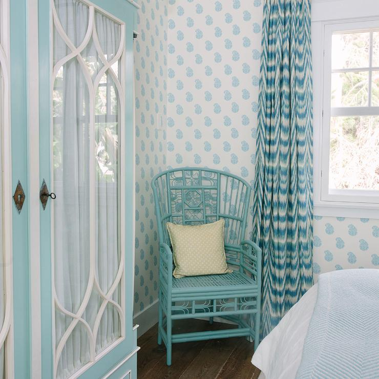 Blue Bedroom Features Walls Clad In Turquoise Blue Paisley Hand Blocked  Wallpaper Lined With A Tiffany Blue Armoire With Glass Doors Next To A  Turquoise ...
