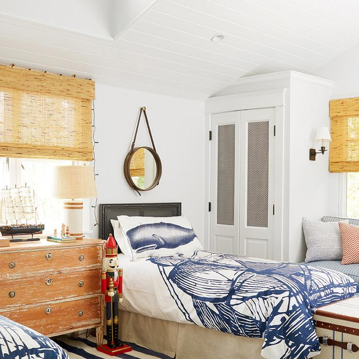 Vintage nautical boy bedroom with whale pillows cottage for Bedroom ideas nautical