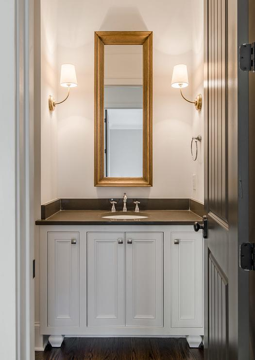 White And Gray Powder Room With Brass Vendome Single Sconce Transitional Bathroom