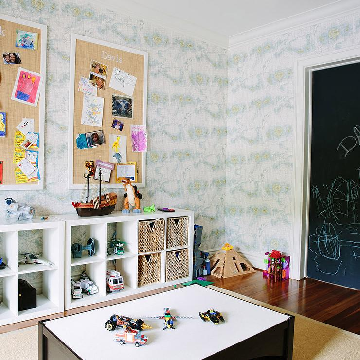 Playroom with Ikea Kallax Shelving Unit and Burlap Pin ...