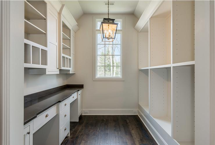 Cottage Butler Pantry With Carriage Lantern Cottage Kitchen - Built in wall desk units
