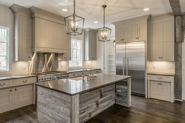 Reclaimed Barn Wood Kitchen Island With Gray Quartz