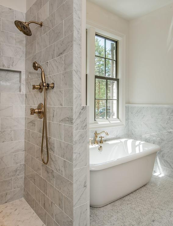 Gray Marble Bathroom with Shower Next to Tub - Transitional - Bathroom