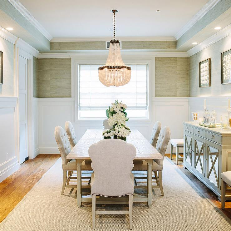 Dining Rooms With Wainscoting: White And Gray Dining Room With Gray Mirrored Buffet