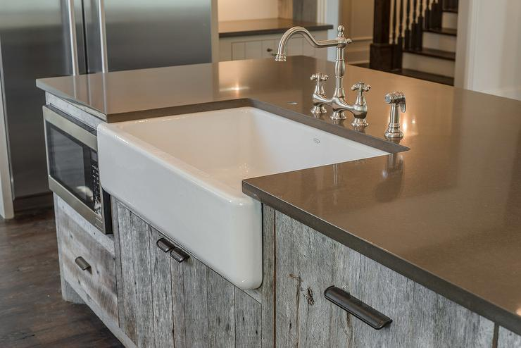 Barn Sinks For Kitchen : Gray Barn Wood Kitchen Island with Farm Sink - Cottage - Kitchen