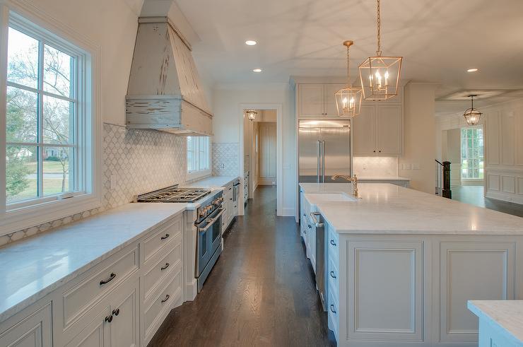 Marble Arabesque Half Tile Kitchen Wall Cottage Kitchen