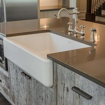 ... Reclaimed Wood KItchen Island with Farmhouse Sink - Cottage - Kitchen