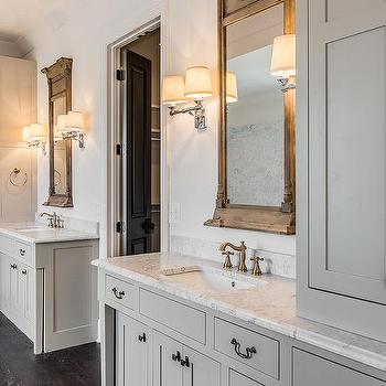 gray cottage bathroom with window mirrors and campaign double sconces - Bathroom Wall Sconces