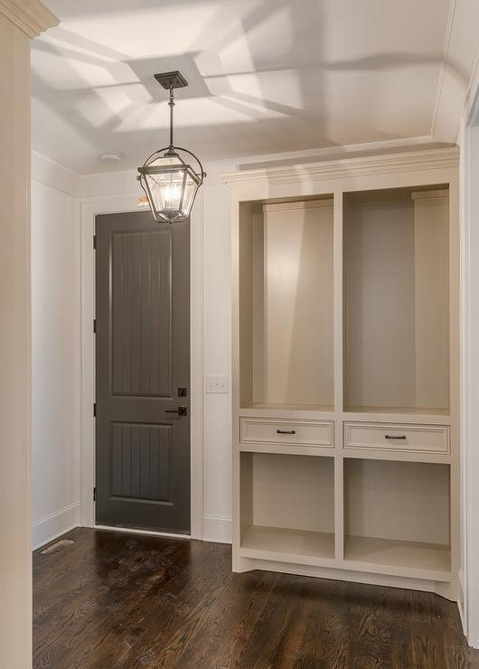 Gray Mudroom With Charcoal Gray Beadboard Door Cottage