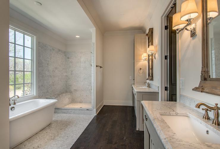 Long Bathroom with Wood and Marble Floors