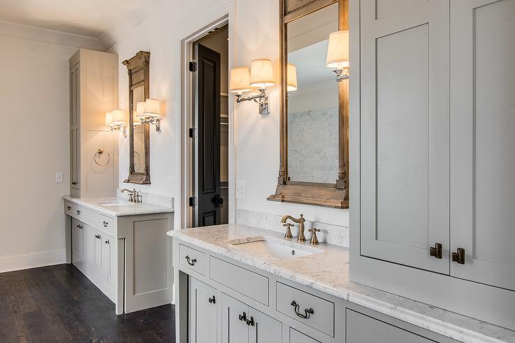 Gray Cottage Bathroom With Neoclassical Window Mirrors And Campaign Double Sconces