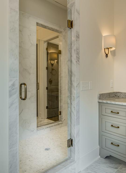 Shared Walk In Shower With 2 Doors Transitional Bathroom
