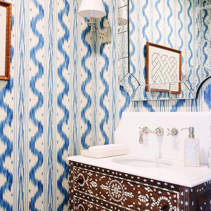Powder Room With Blue And Gold Trellis Wallpaper - Contemporary