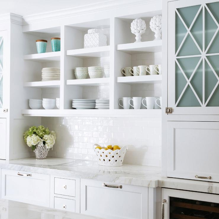 Open Shelf Kitchen Cabinet: White Kitchen Cabinets White Subway Tiles Design Ideas