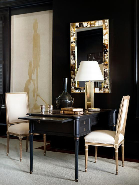 Good Black And Gold Office With Shared Black French Desk