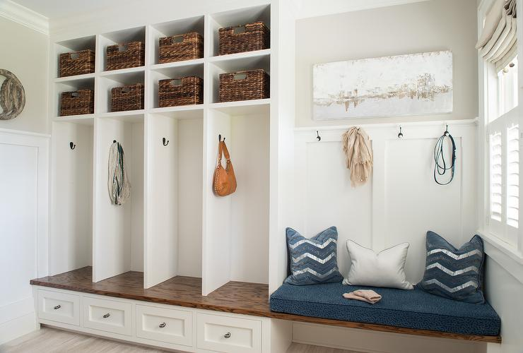 Transitional Mudroom With Built In Bench And Board Batten Trim