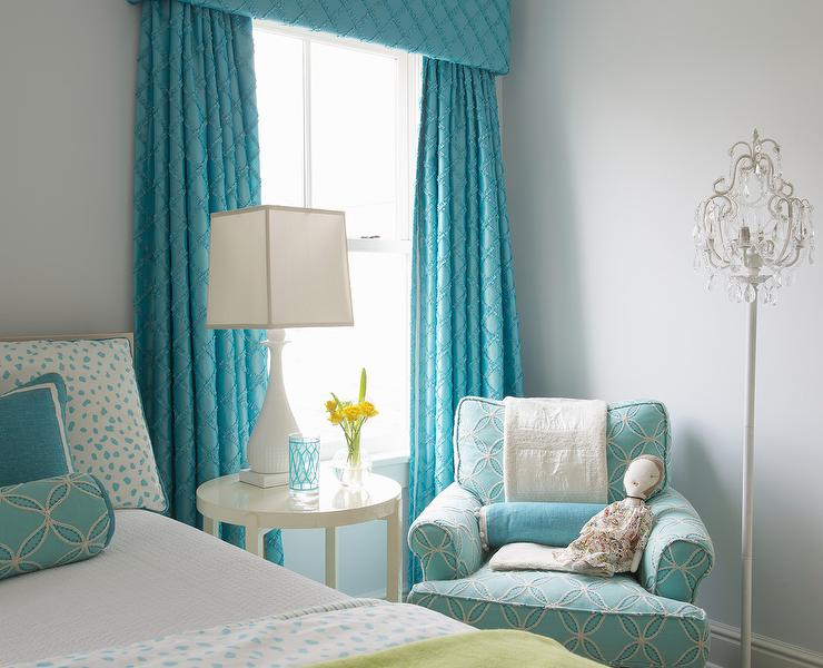Turquoise girls bedroom with turquoise cornice box and - Turquoise curtains for living room ...