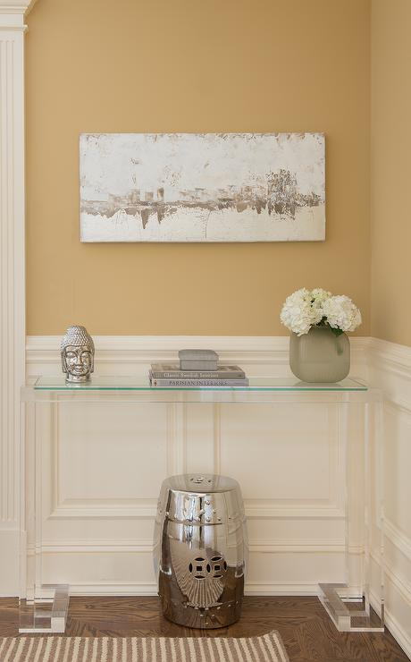 Gold Foyer Table : Blue greek key rug transitional entrance foyer