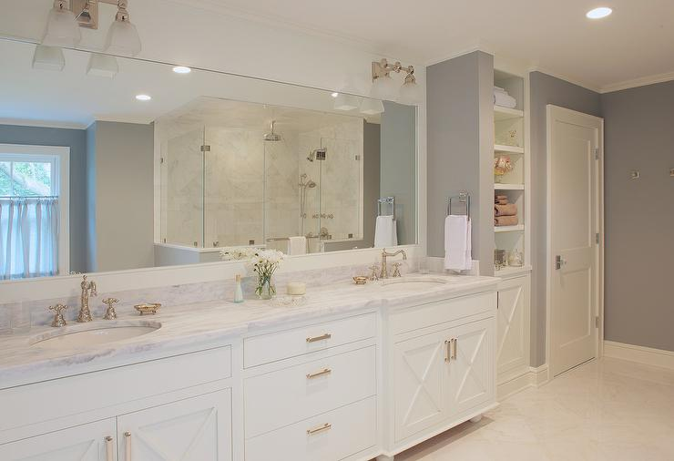 white and gray master bathroom with x front vanity cabinets