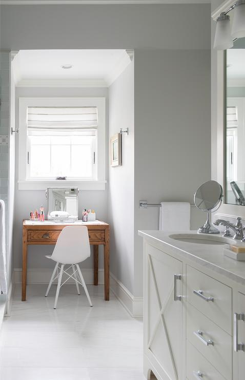 Gray Bathroom Nook With Freestanding Makeup Vanity Under