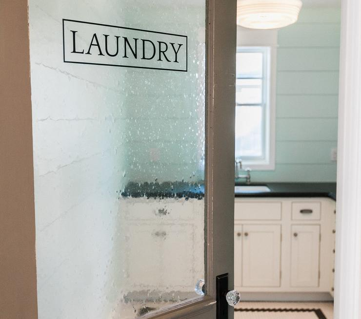 Laundry Room With Seeded Glass Door Cottage Laundry Room