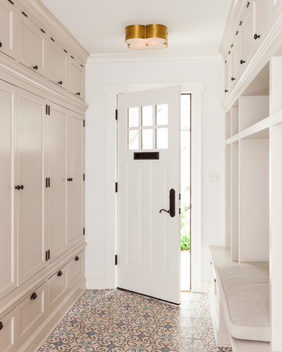 Long mudroom design with face to face locker cabinets Mudroom floor