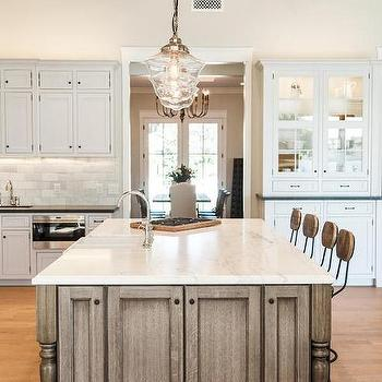Clear glass schoolhouse pendant design ideas brown kitchen island and clear glass schoolhouse pendants mozeypictures Images