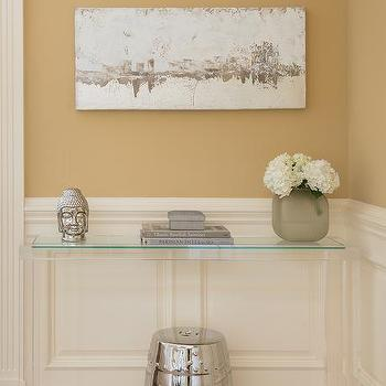 White And Gold Foyer With Lucite Greek Key Console Table